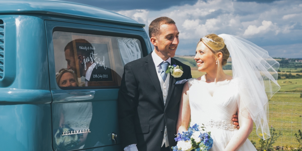 VW Campervan Wedding Just Married